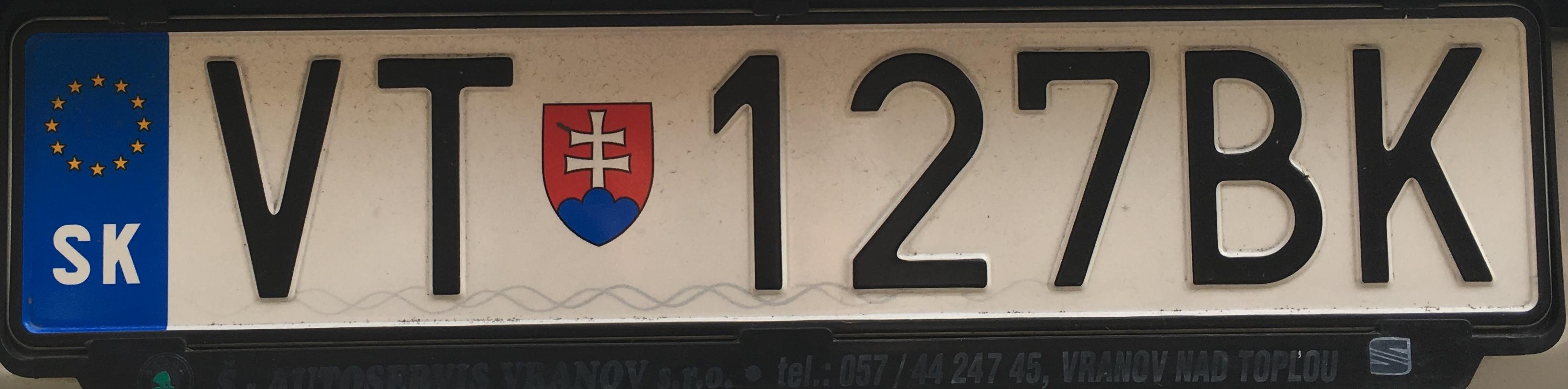 Registrační značka Slovensko - VT - Vranov nad Topľou, foto: www.podalnici.cz