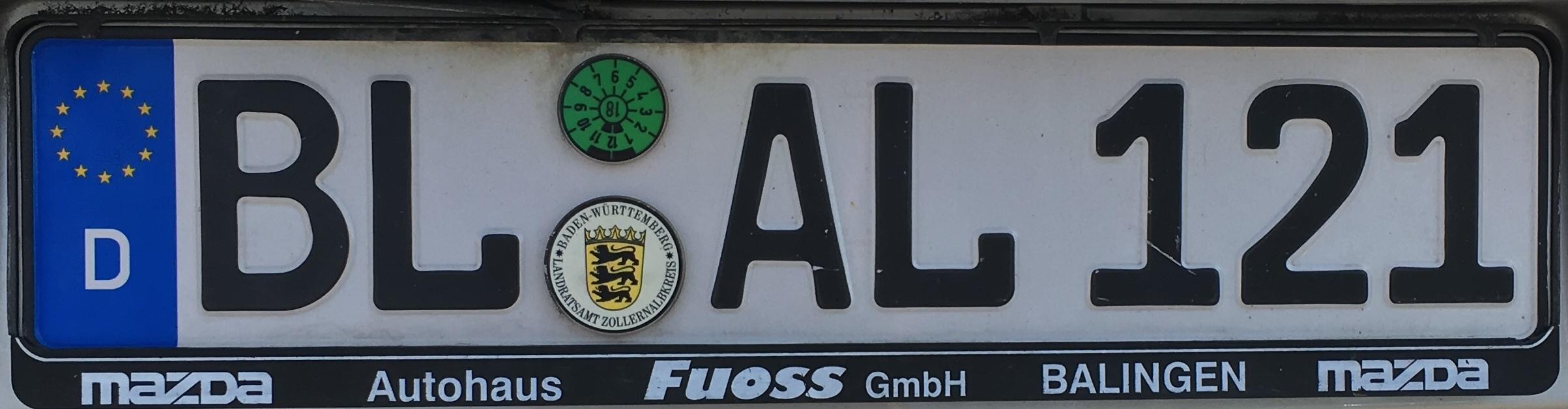 Registrační značky Německo - BL - Zollernalbkreis, foto: vlastní
