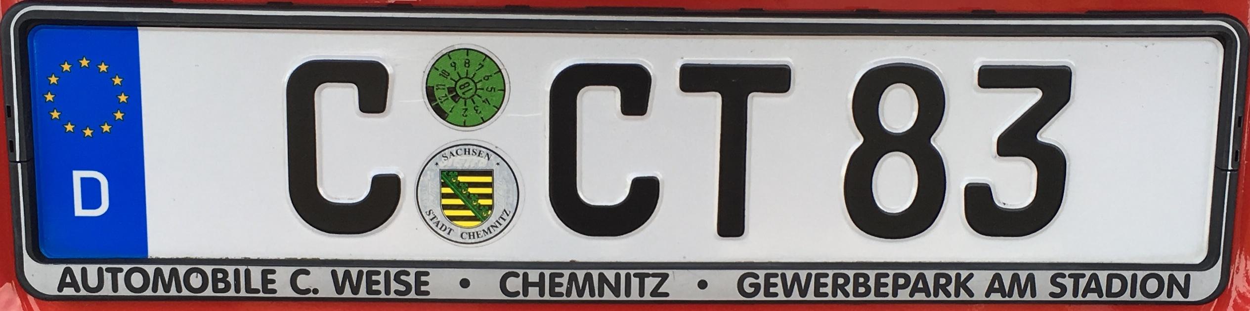 Registrační značky Německo - C - Chemnitz, foto: vlastní