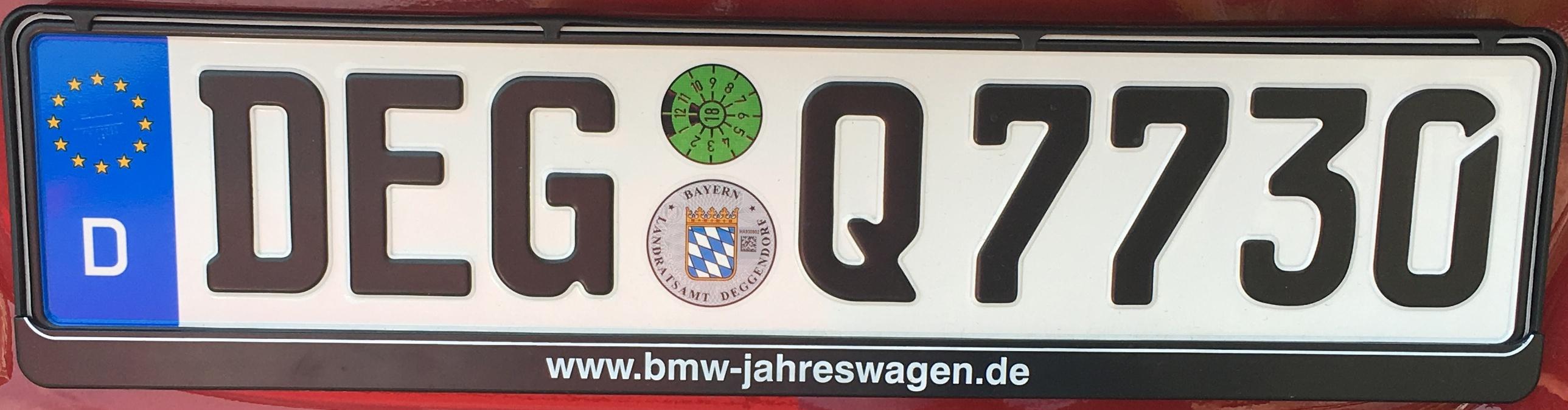Registrační značky Německo - DEG - Deggendorf, foto: vlastní