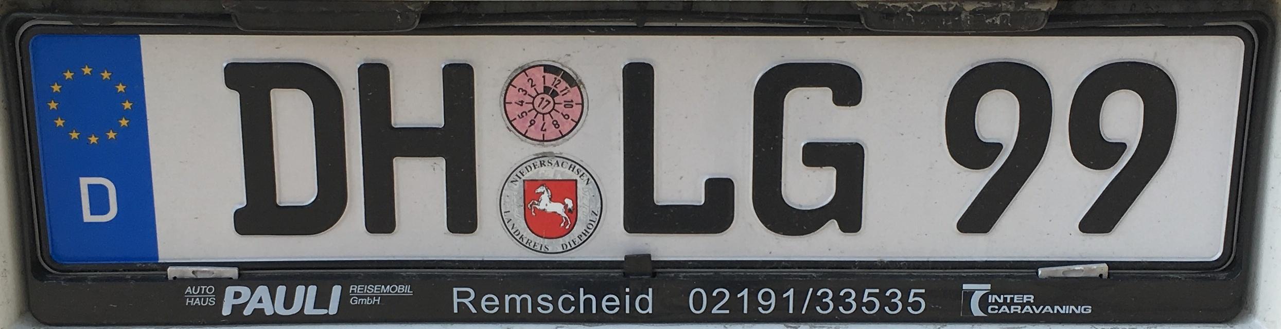 Registrační značky Německo - DH - Diepholz, foto: vlastní