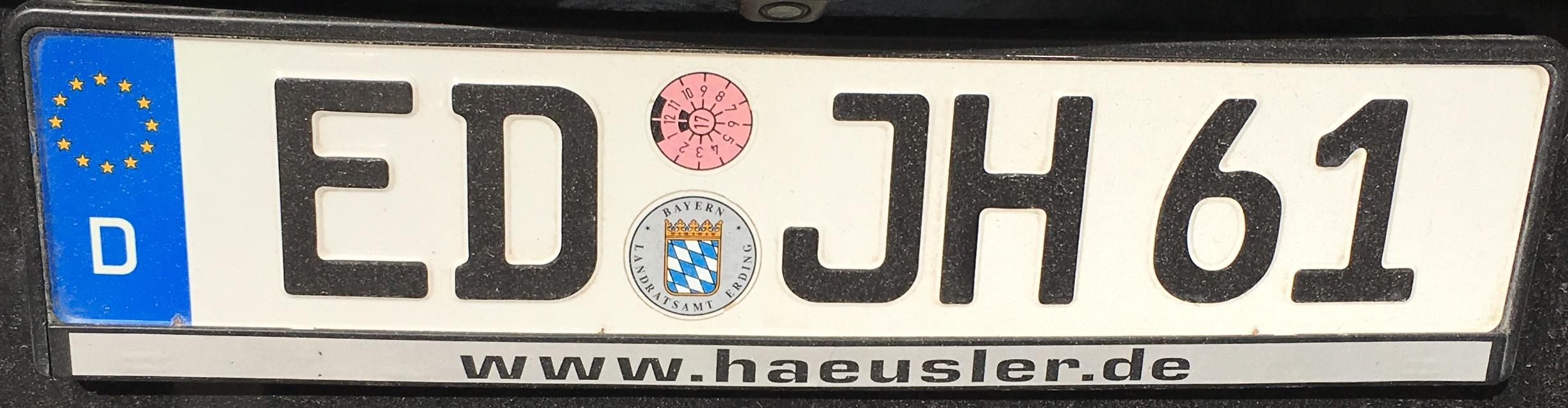 Registrační značky Německo - ED - Erding, foto vlastní