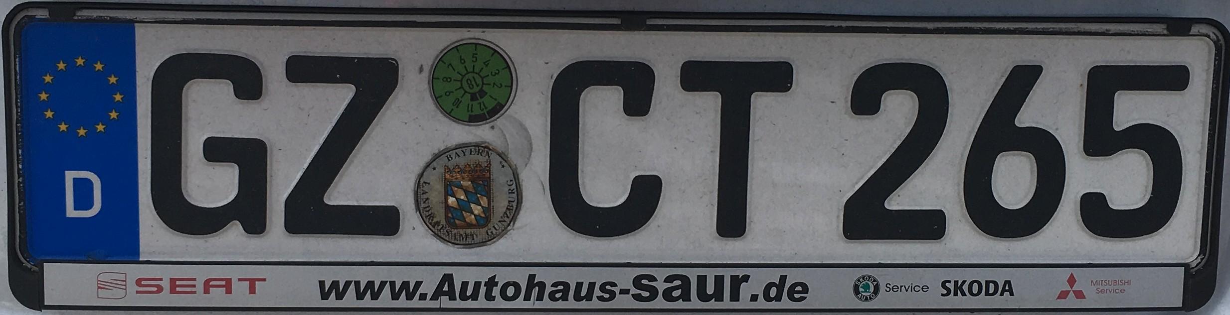 Registrační značky Německo - GZ - Günzburg, foto: vlastní