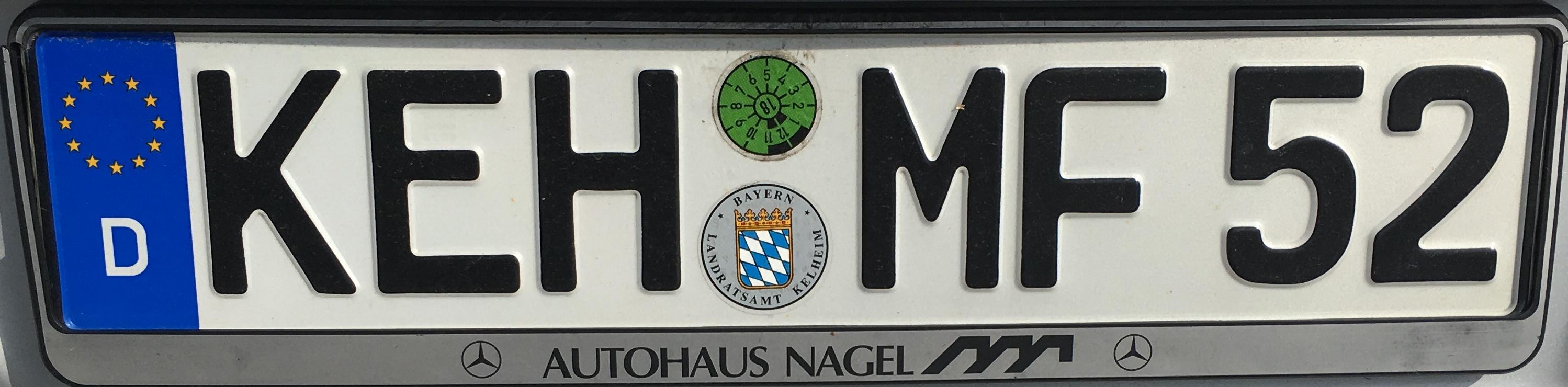 Registrační značky Německo - KEH - Kelheim, foto: vlastní