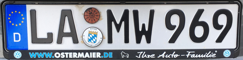 Registrační značky Německo - LA - Landshut, foto: vlastní
