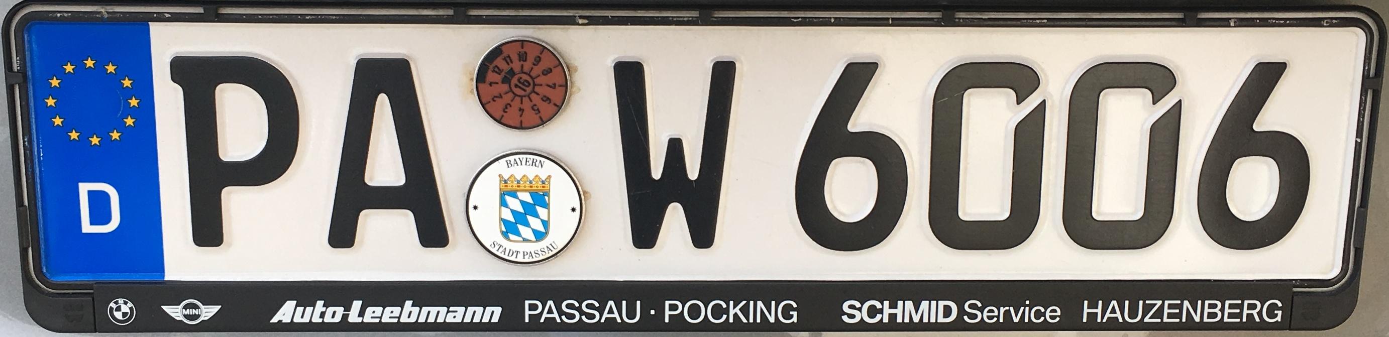 Registrační značky Německo - PA - Passau, foto: vlastní