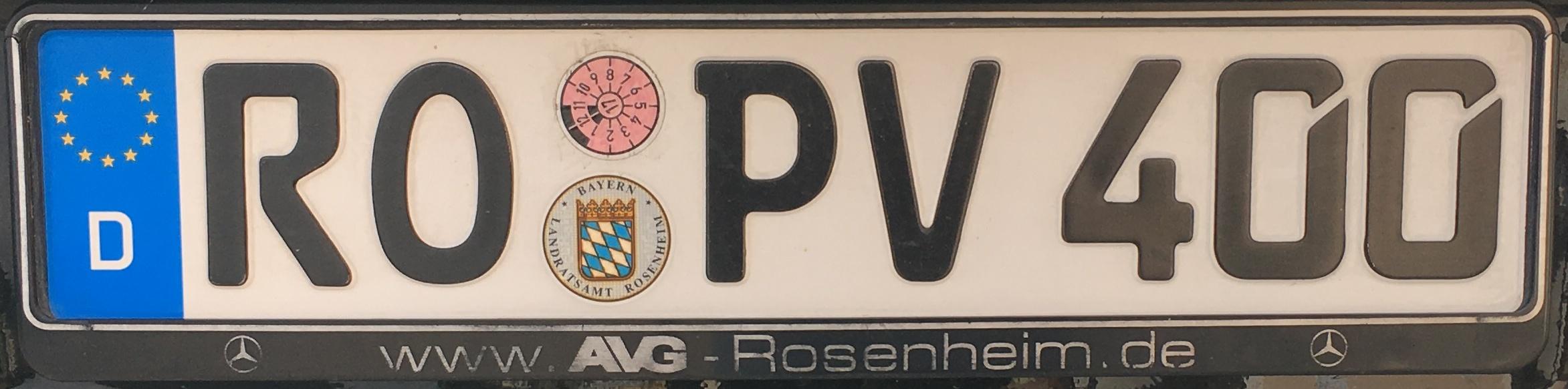 Registrační značky Německo - RO - Rosenheim, foto: vlastní