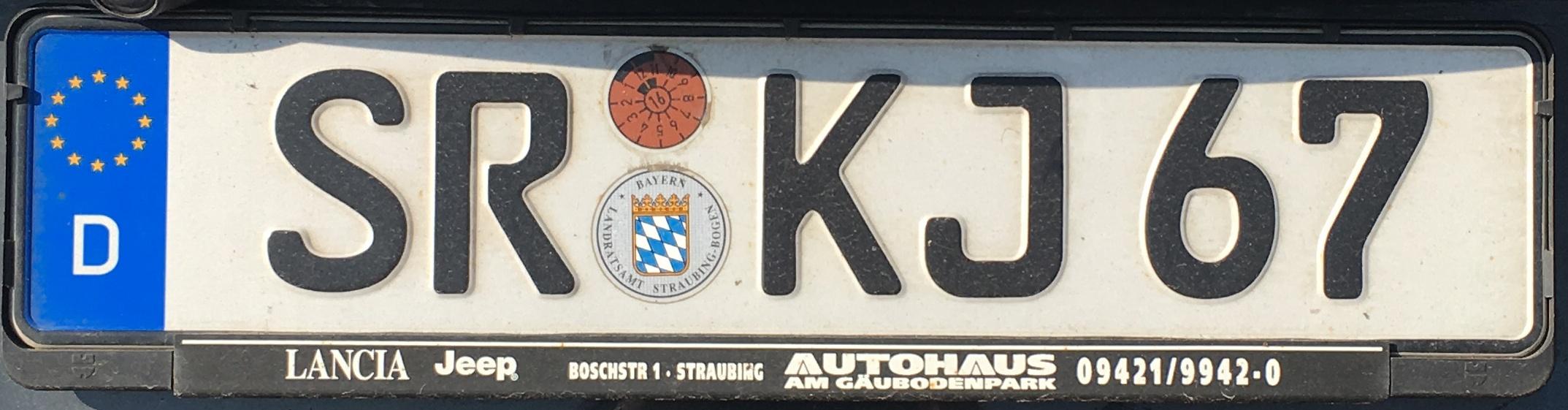 Registrační značky Německo - SR - Straubing-Bogen, foto: vlastní