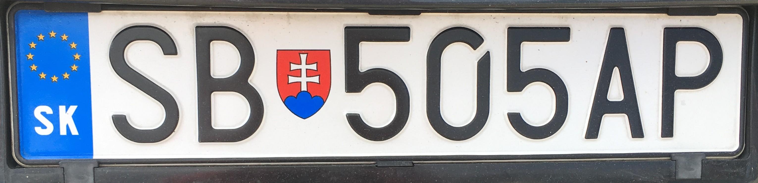 Registrační značka: SB - Sabinov, foto: vlastní