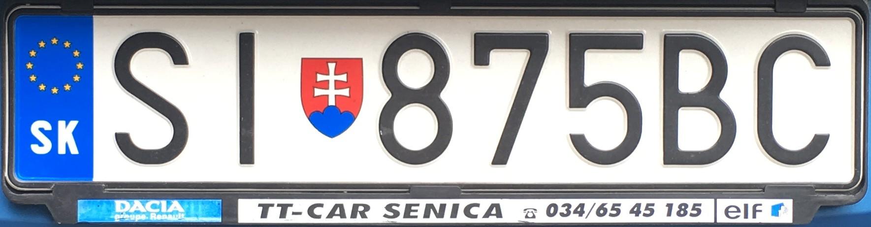 Registrační značka: SI - Skalica, foto: vlastní