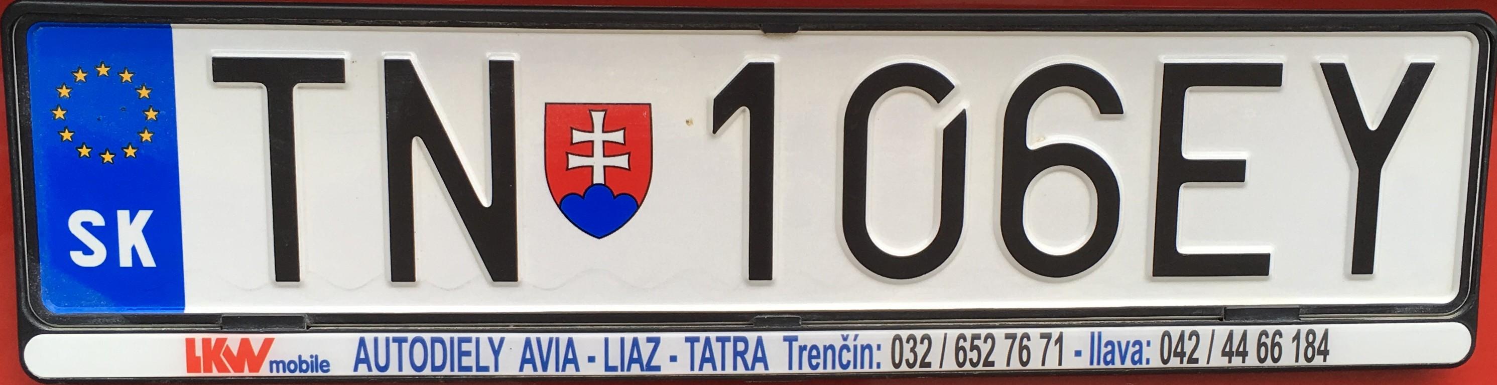 Registrační značka: TN - Trenčín, foto: vlastní