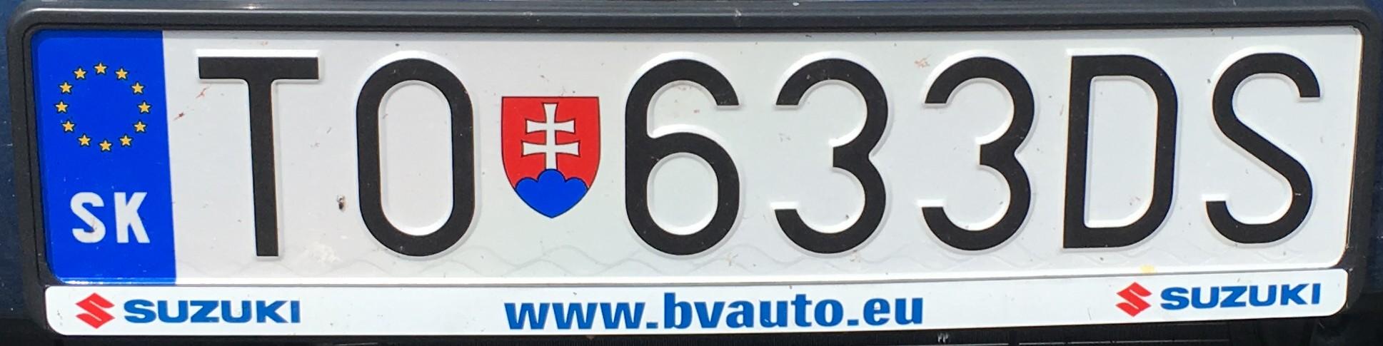 Registrační značka: TO - Topoľčany, foto: vlastní