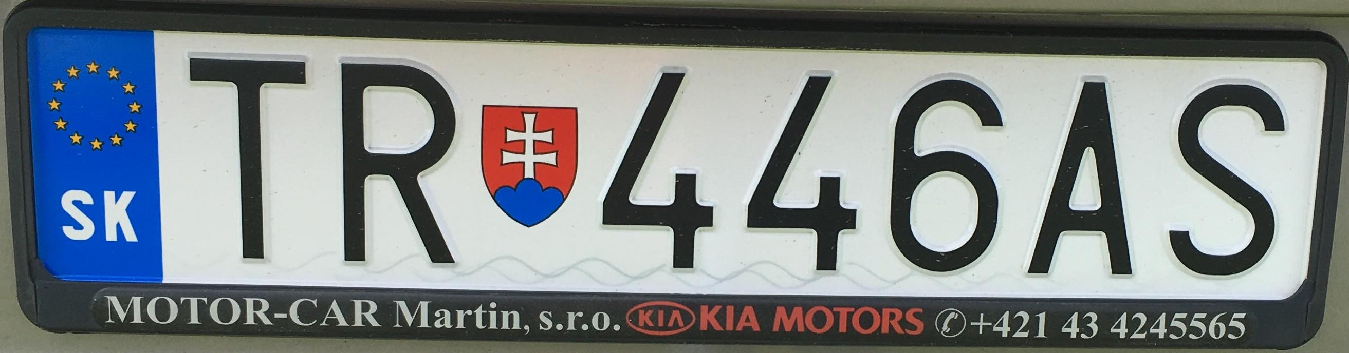 Registrační značka: TR - Turčianské Teplice, foto: vlastní