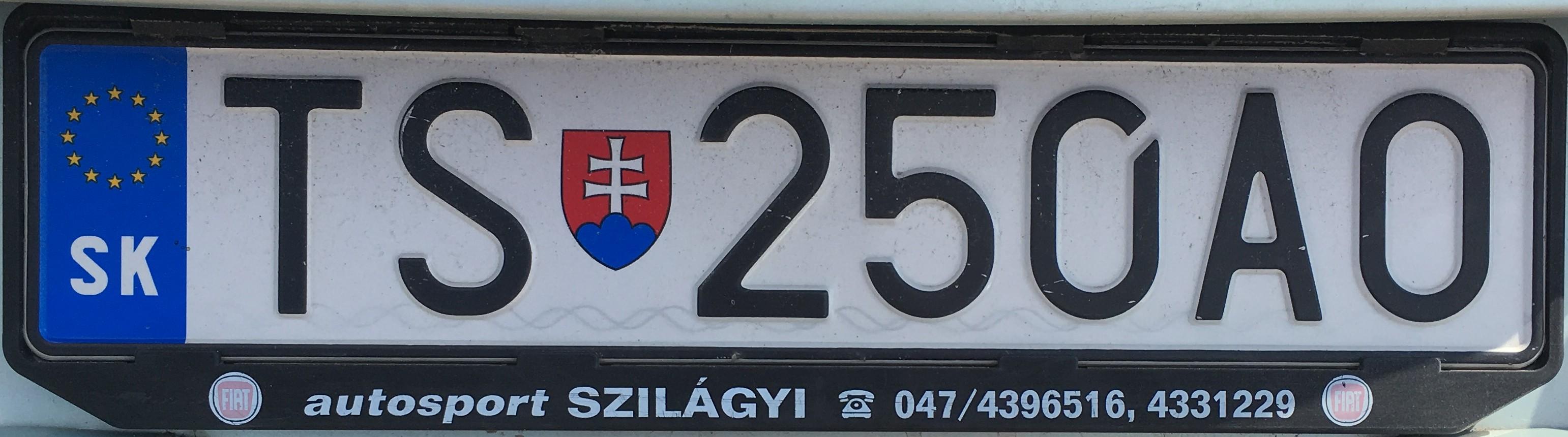 Registrační značka: TS - Tvrdošín, foto: vlastní