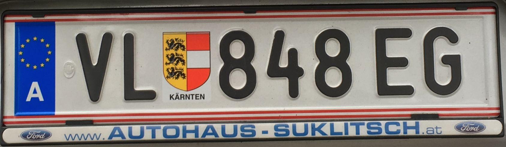 Registrační značka Rakousko – VL – Villach, foto: www.podalnici.cz