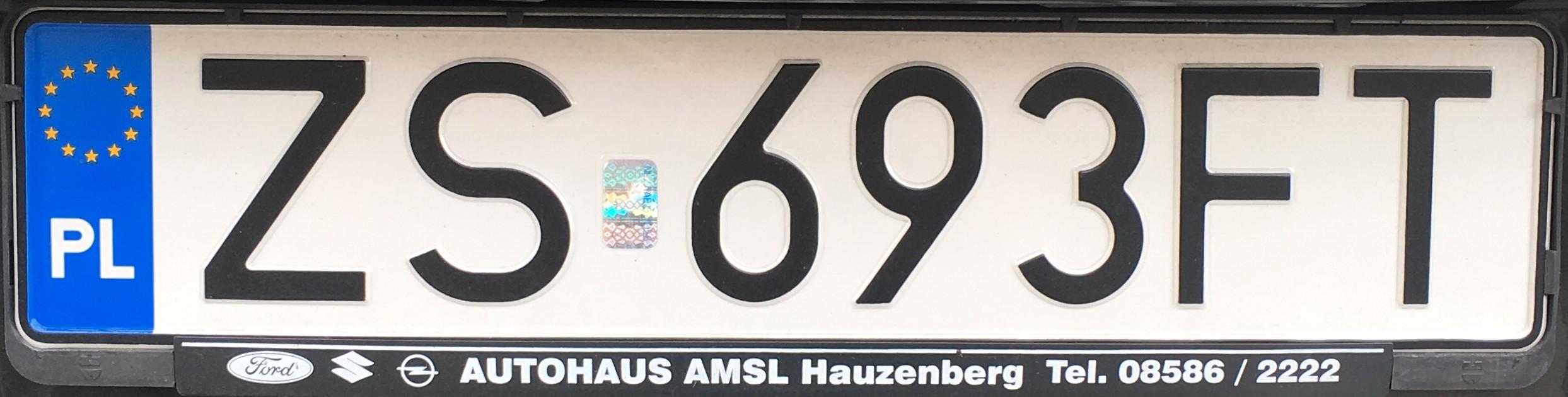Registrační značka Polsko - ZS - Západopomořské vojvodství - Szczecin, foto: vlastní