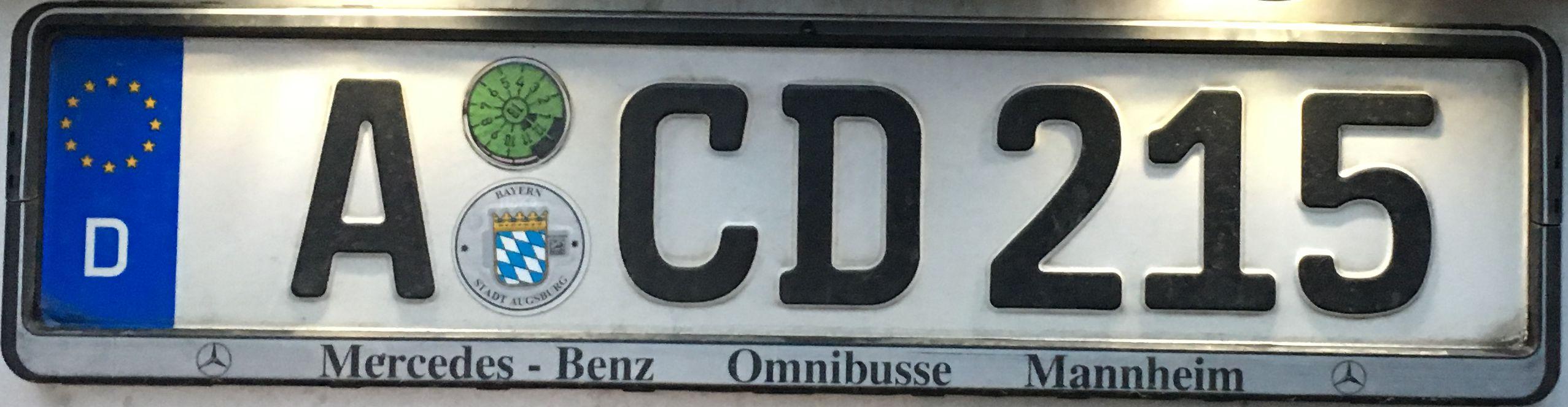 Registrační značka Německo – A – Augsburg, foto: www.podalnici.cz