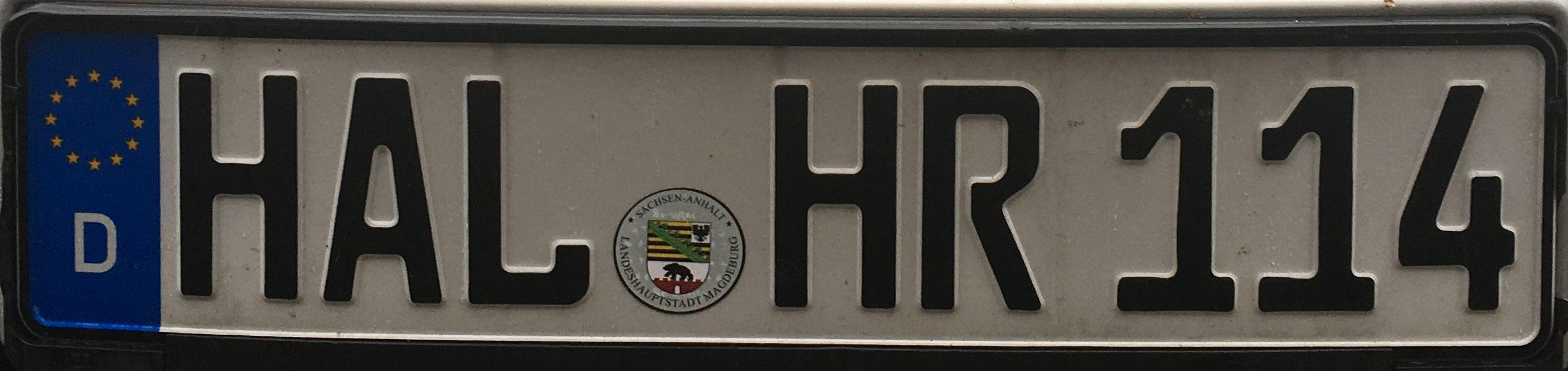 Registrační značka Německo - HAL - Halle, foto:www.podalnici.cz