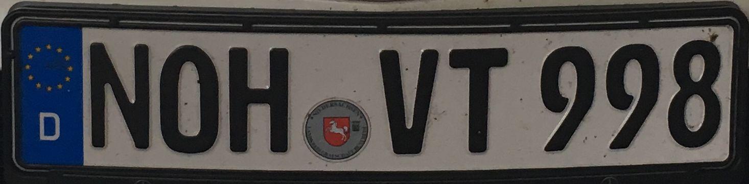 Registrační značky Německo - NOH - Nordhorn, foto: www.podalnici.cz
