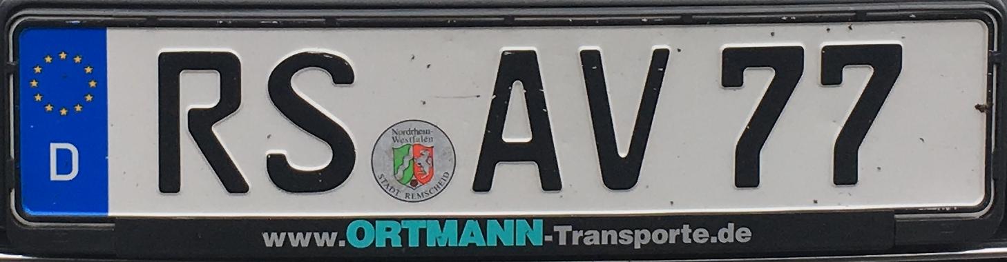Registrační značky Německo - RS - Remscheid, foto: www.podalnici.cz