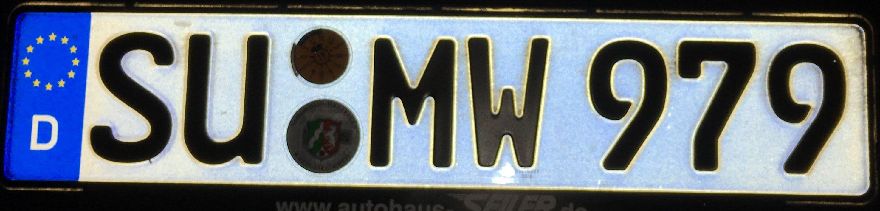 Registrační značka Německo - SU - Siegburg, foto:www.podalnici.cz