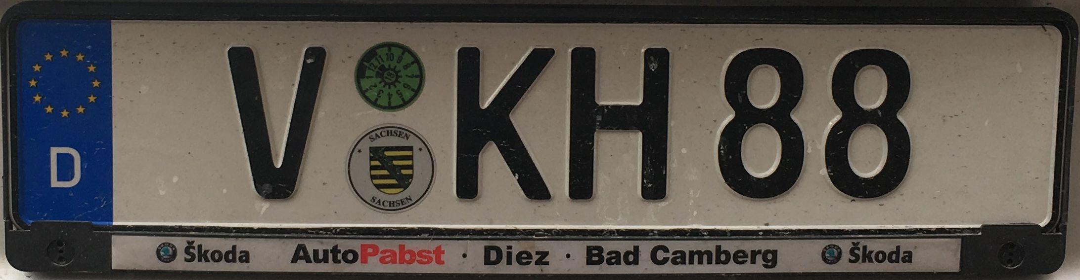 Registrační značky Německo – V – Vogtlandkreis, foto: www.podalnici.cz