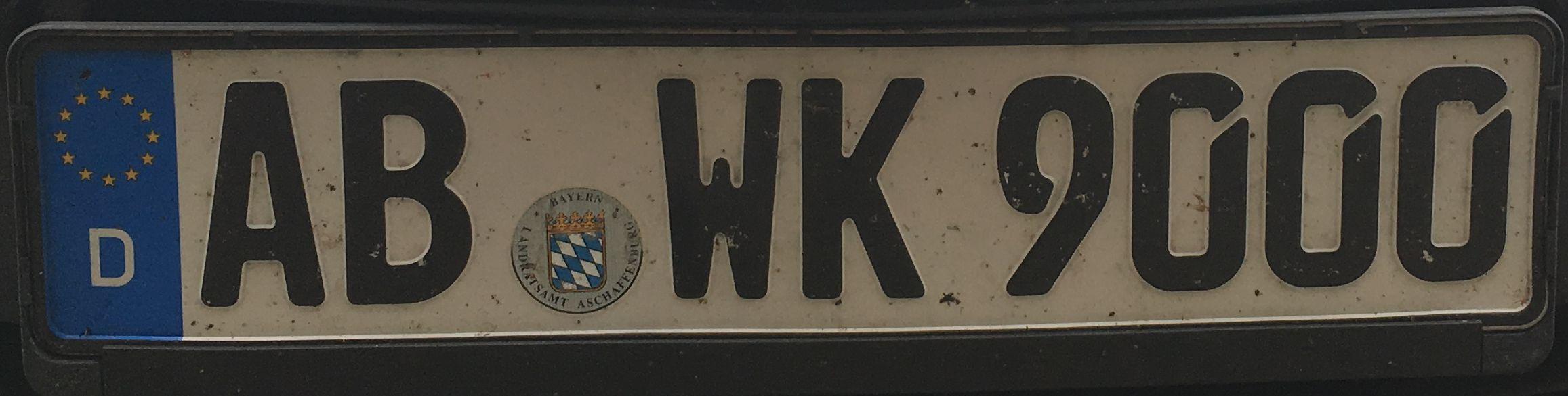 Registrační značka Německo - AB - Aschaffenburg, foto: www.podalnici.cz
