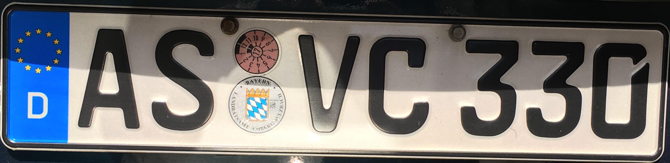 Registrační značka Německo – AS – Amberg-Sulzbach, foto: www.podalnici.cz
