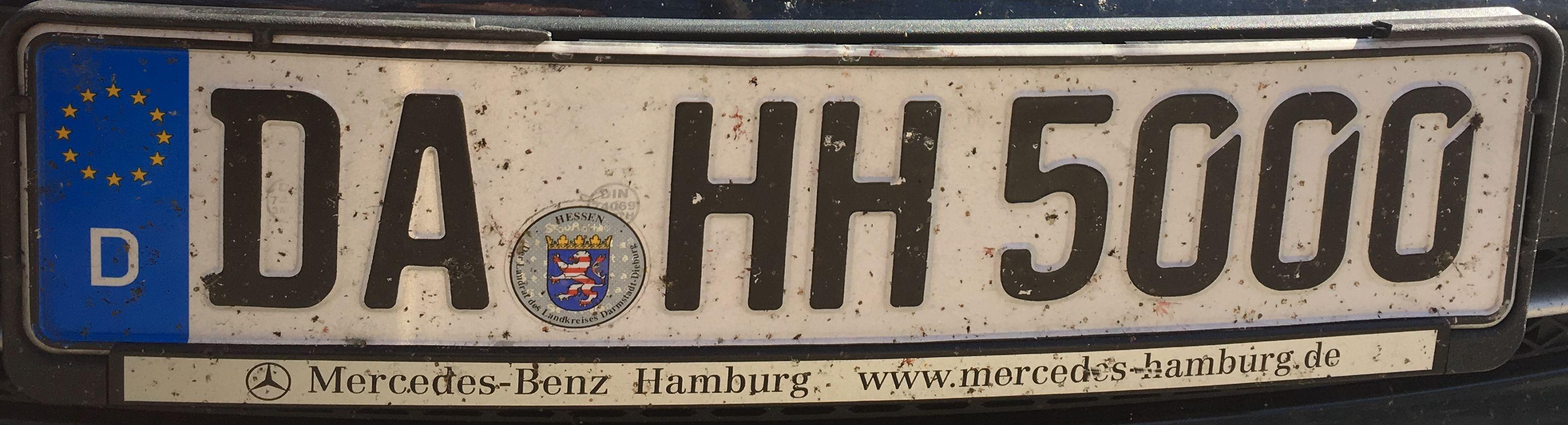 Registrační značka Německo – DA – Darmstadt, foto: www.podalnici.cz