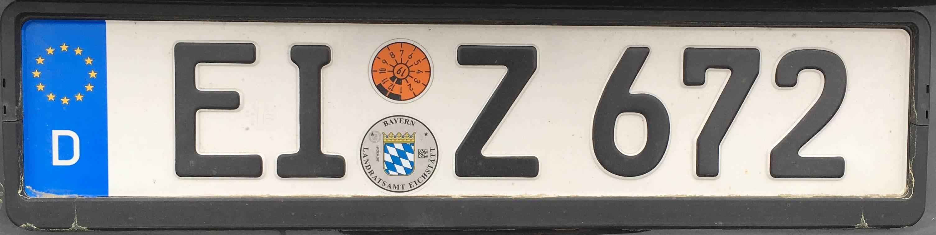 Registrační značky Německo - EI - Eichstätt, foto: www.podalnici.cz