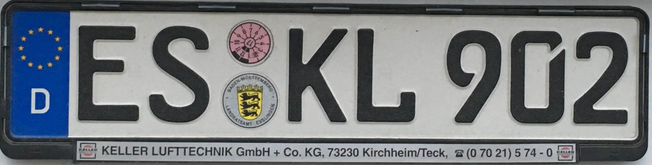 Registrační značky Německo - ES - Esslingen, foto: www.podalnici.cz
