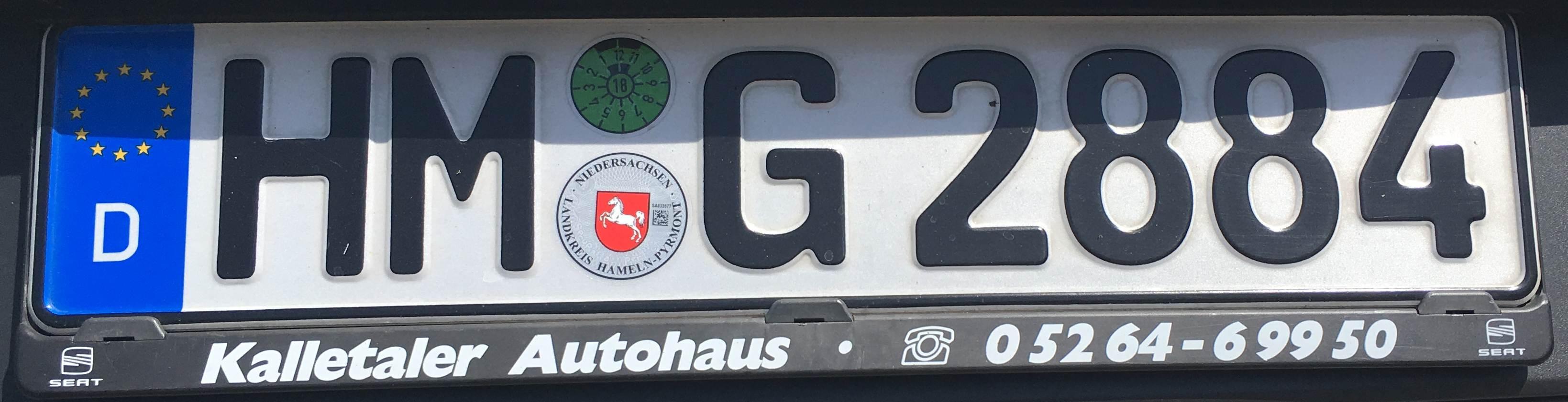 Registrační značky Německo - HM - Hameln-Pyrmont, foto: www.podalnici.cz