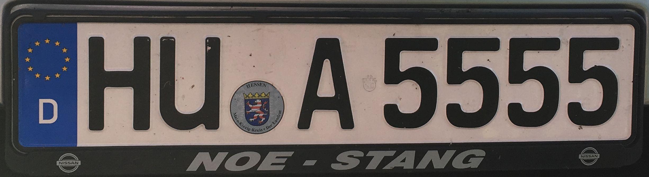 Registrační značka Německo – HU – Hanau, foto: www.podalnici.cz