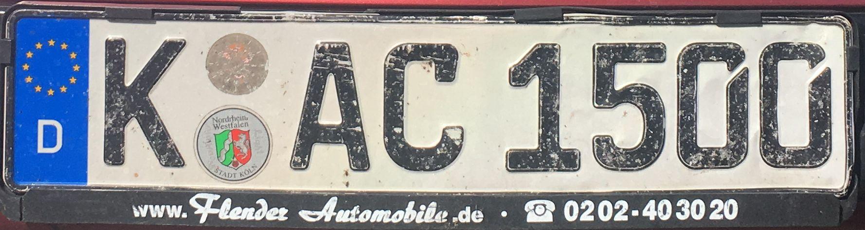 Registrační značka Německo - K - Köln, foto:www.podalnici.cz
