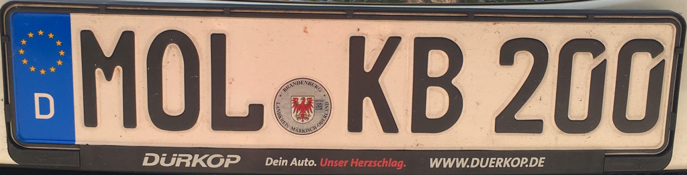 Registrační značka Německo – MOL – Märkisch Oderland, foto: www.podalnici.cz