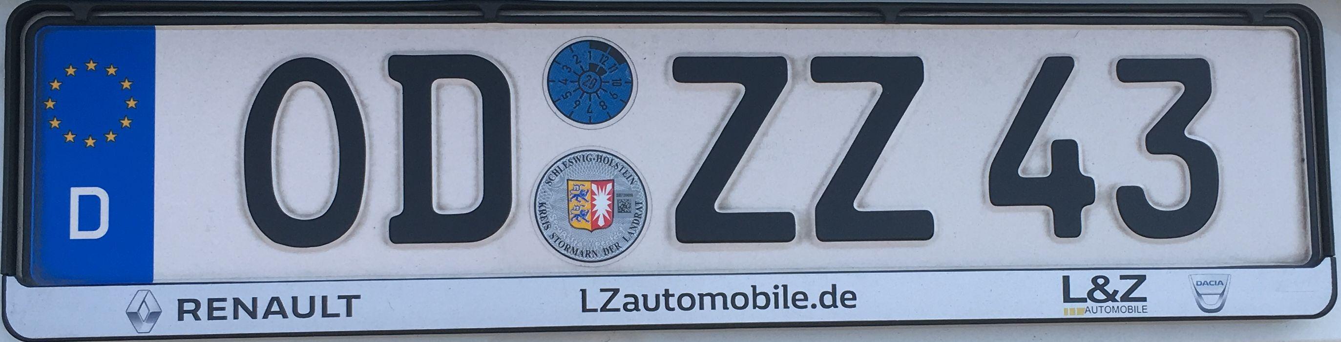 Registrační značka Německo – OD – Stormarn, foto: www.podalnici.cz