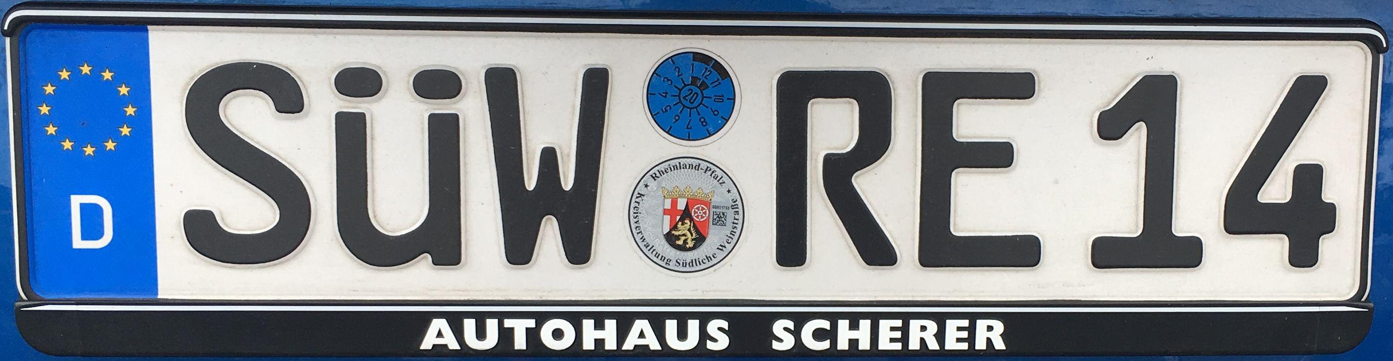 Registrační značky Německo - SÜW - Südliche Weinstrasse , foto: www.podalnici.cz