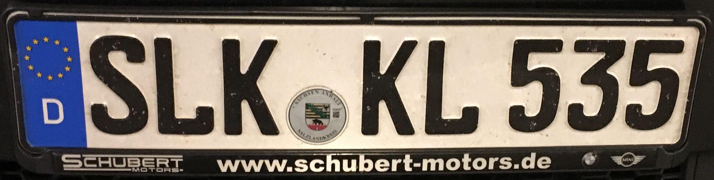 Registrační značka Německo - SLK - Salzlandkreis, foto: www.podalnici.cz