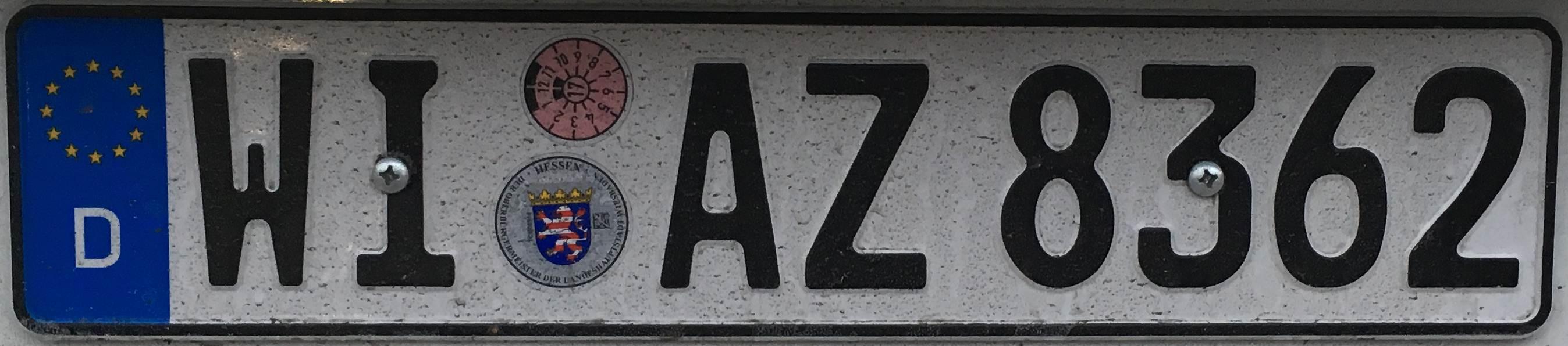 Registrační značky Německo - WI - Wiesbaden, foto: www.podalnici.cz