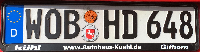 Registrační značka Německo – WOB – Wolfsburg, foto: www.podalnici.cz