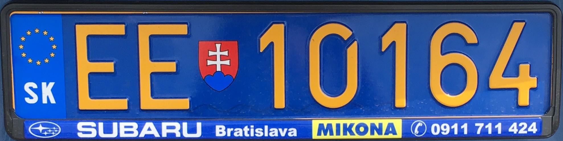 Slovenská diplomatická registrační značka