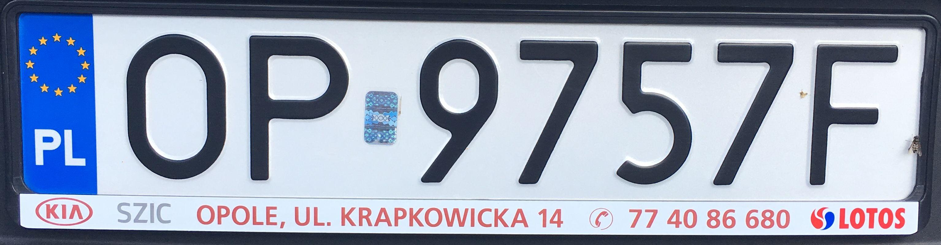 Registrační značka Polsko - OP - Opole, foto: www.podalnici.cz