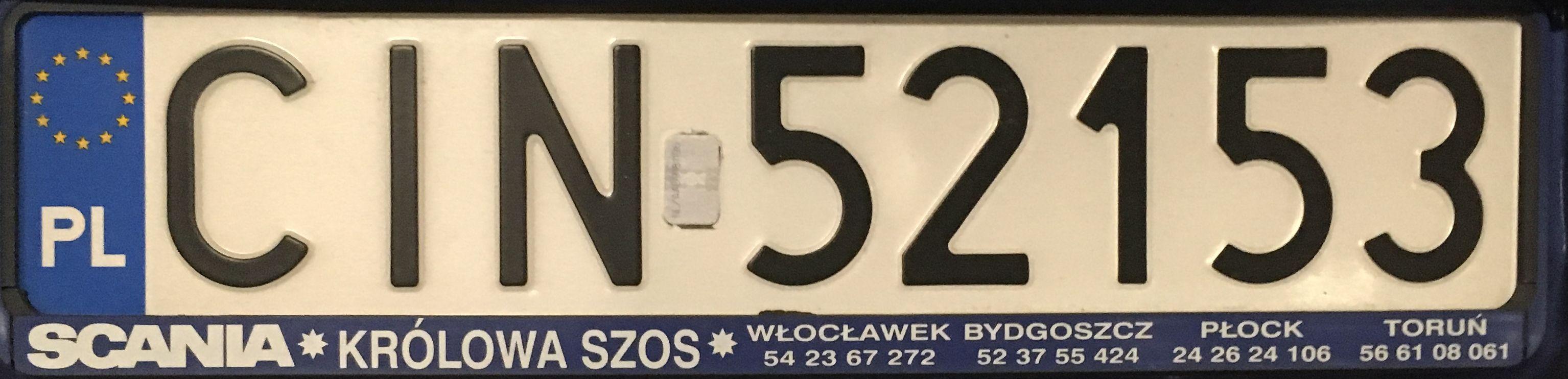 Registrační značka Polsko – CIN – Inowrocław, foto: www.podalnici.cz