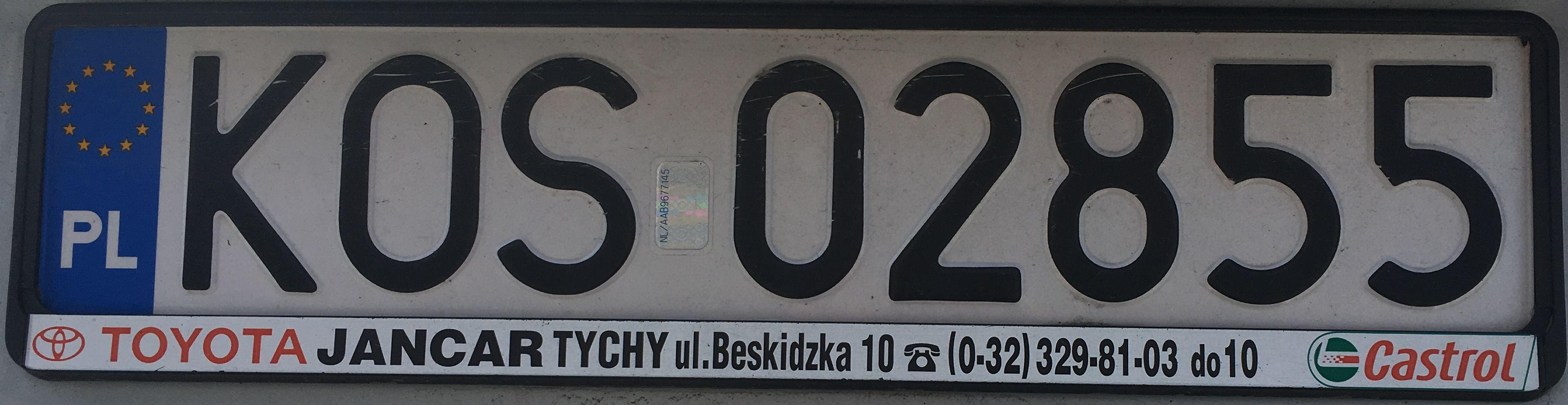 Registrační značka Polsko – KOS – Oświęcim, foto: www.podalnici.cz