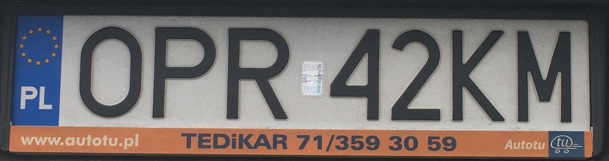 Registrační značka Polsko – OPR – Prudnik, foto: www.podalnici.cz