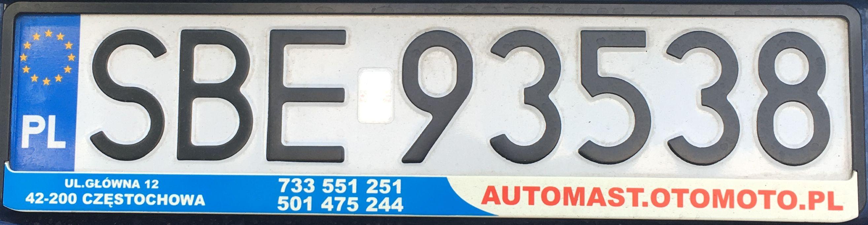 Registrační značka Polsko – SBE – Będzin, foto: www.podalnici.cz