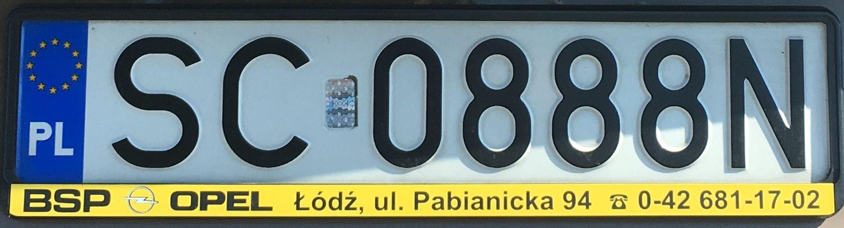 Registrační značka Polsko – SC – Częstochowa, foto: www.podalnici.cz