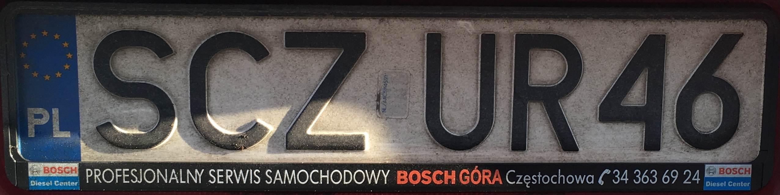 Registrační značka Polsko – SCZ – Częstochowa-venkov, foto: www.podalnici.cz