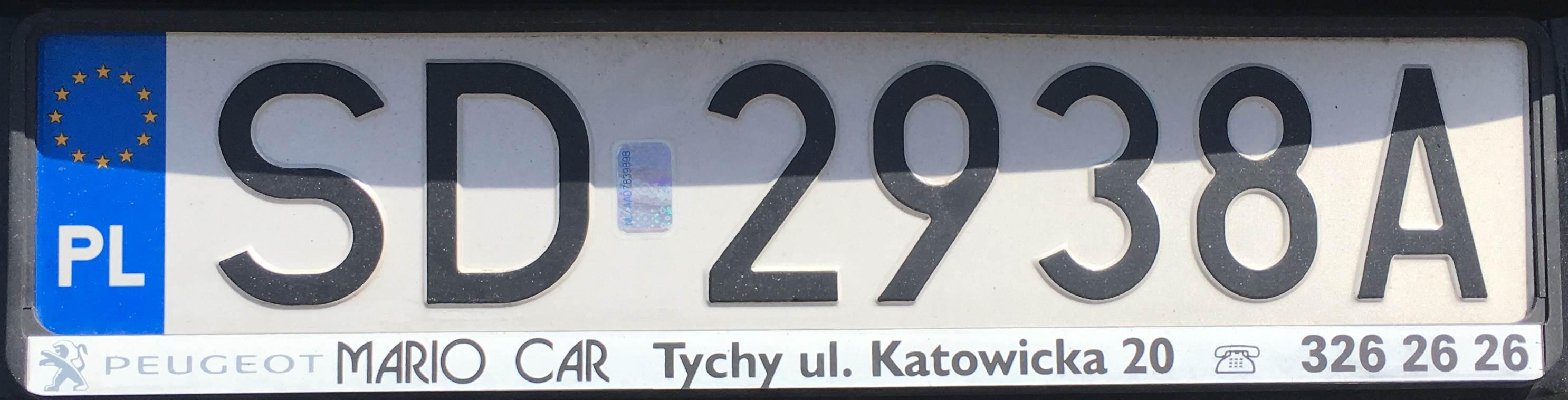 Registrační značka Polsko – SD – Dąbrowa Górnicza, foto: www.podalnici.cz