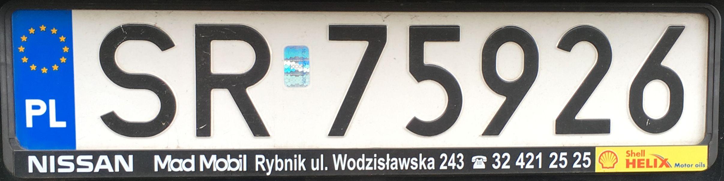 Registrační značka Polsko – SR – Rybnik, foto: www.podalnici.cz